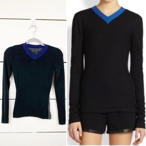 RAG & BONE Renelle Colorblock V-Neck Sweater XXS
